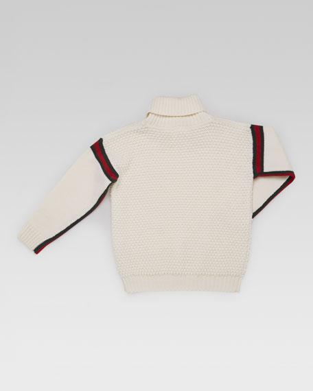 Striped-Trim Turtleneck Sweater
