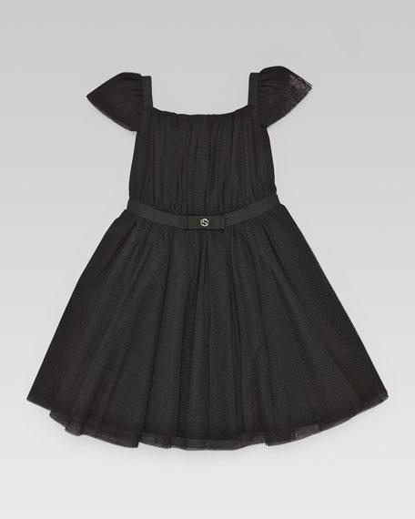 Flutter-Sleeve Tulle Dress, Black