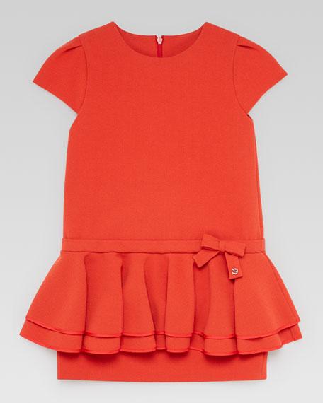 Frill Peplum Dress, Orange