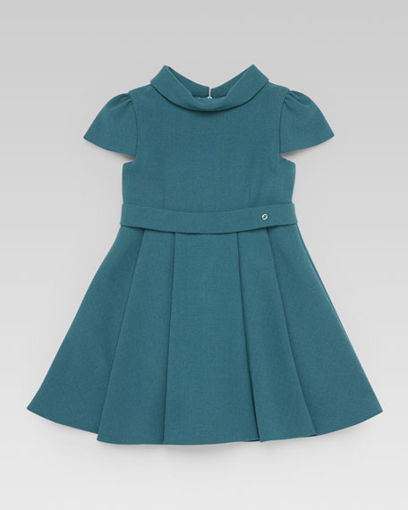 Short-Sleeve Fold-Collar Dress, Green