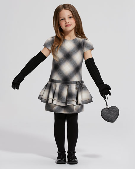 Plaid Peplum Dress, Gray/Black