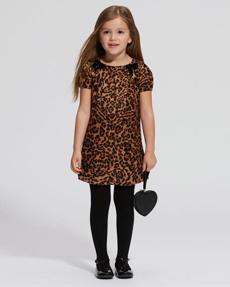 Jaguar-Print Shift Dress, Natural