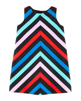 Milly Minis Sleeveless Striped-Twill Dress, Sizes 2-6