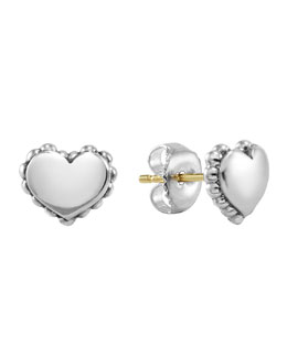 Lagos Kinder Girls' Sterling-Silver Heart Stud Earrings