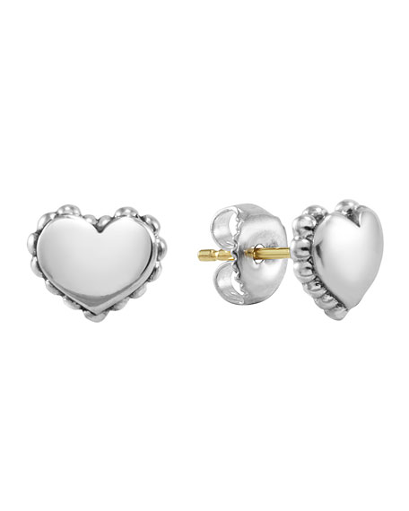 Kinder Girls' Sterling-Silver Heart Stud Earrings