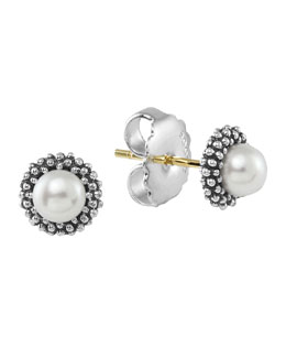 Lagos Kinder Sterling-Silver Luna Pearl Stud Earrings