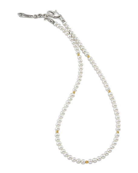 LAGOS Kinder Pearl Necklace with 18k Gold Cavier