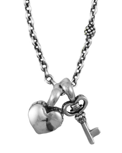 Kinder Sterling-Silver Heart & Key Charm Necklace