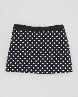 Milly Minis Polka-Dot Miniskirt, Black, Sizes 2-6