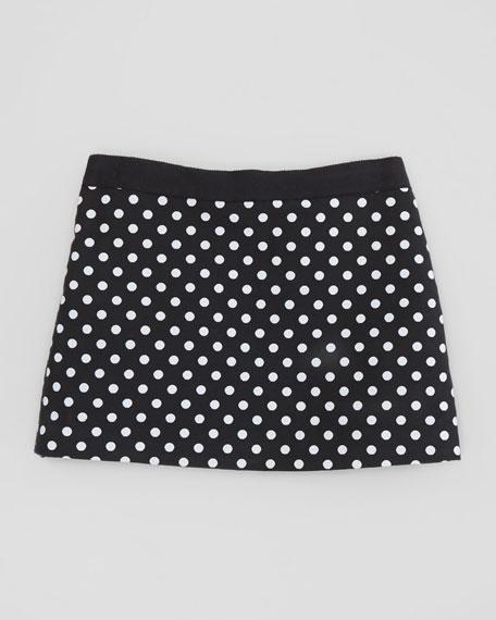 Polka-Dot Miniskirt, Black, Sizes 2-6