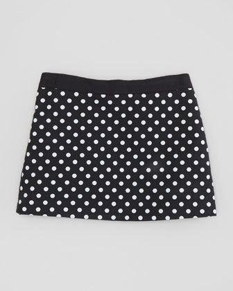 Polka-Dot Miniskirt, Black, Sizes 2-6