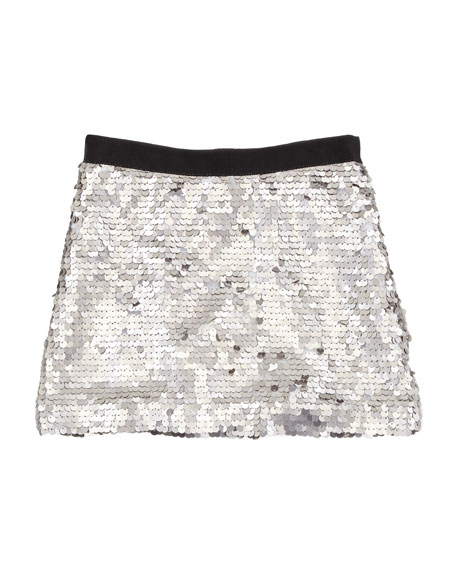 Sequin Miniskirt, Silver, Sizes 2-6