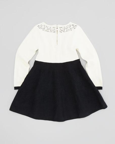 Rhinestone-Collar Dress, Ecru, Sizes 2-6