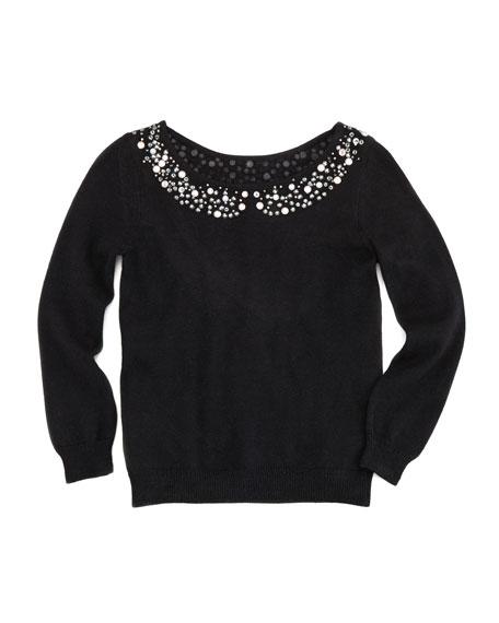 Rhinestone Collar Pullover Sweater, Black, Sizes 2-6