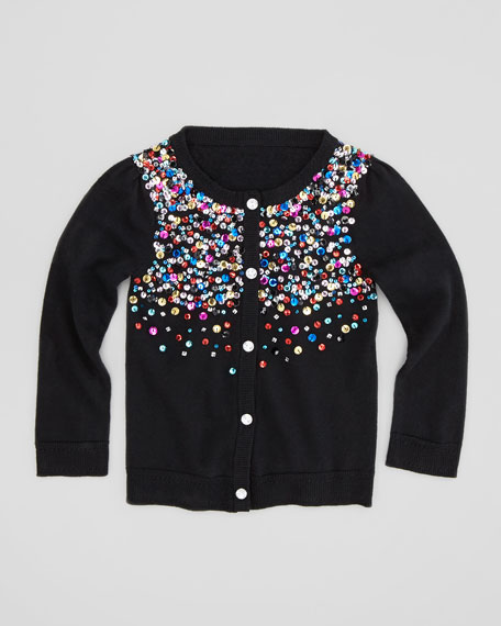 Multi-Sequin Knit Cardigan, Black, Sizes 2-6