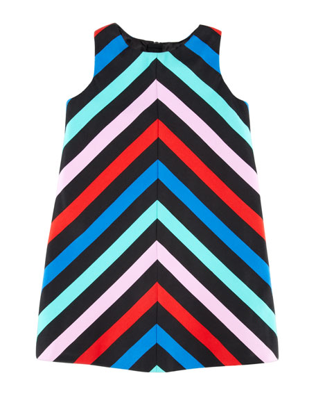 Sleeveless Striped-Twill Dress, Sizes 8-10
