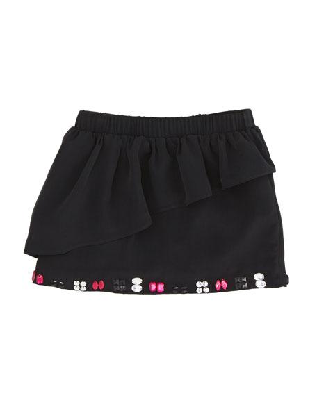 Cascade Ruffle Miniskirt, Black, Sizes 8-10