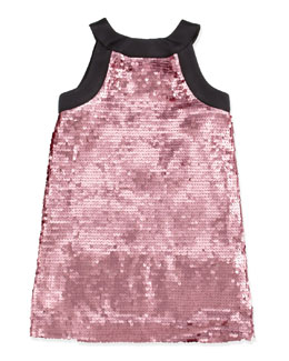Milly Minis Sequin Shift Dress, Orchid, Sizes 2-7