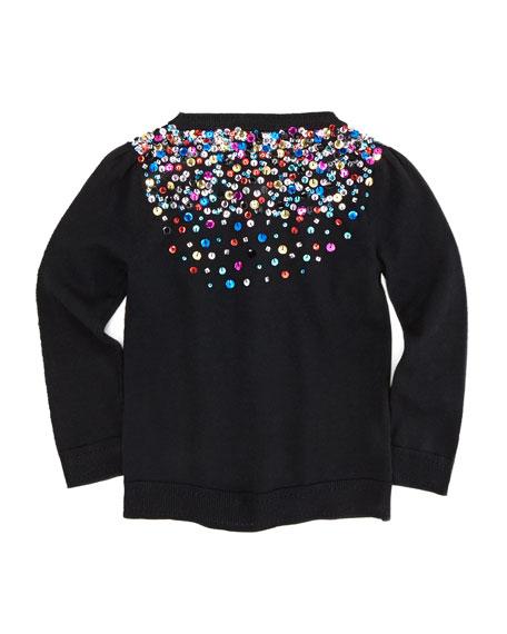 Multi-Sequin Knit Cardigan, Black, Sizes 8-10