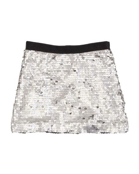 Sequin Miniskirt, Silver, Sizes 8-10