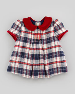 Busy Bees Evie Plaid Top & Ruffle Bloomers, Blue