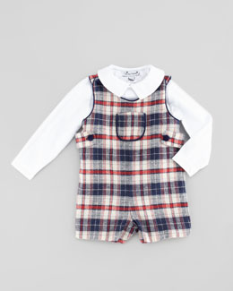 Busy Bees Jack Classic Plaid Shortalls, Blue, 3-12 Months