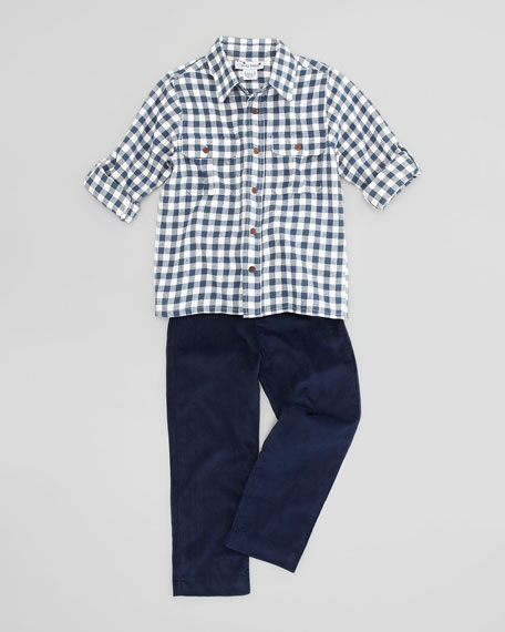Reece Check Camp Shirt, Navy, Sizes 2-8