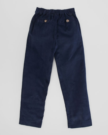 Alex Flat-Front Corduroy Pants, Navy, Sizes 2-8