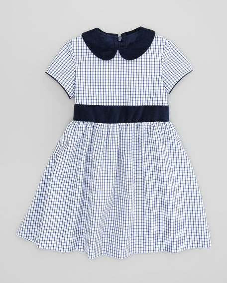 Anna Check-Poplin Dress, Navy, Sizes 2-8