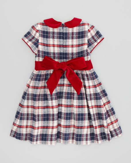Anna Plaid-Twill Dress, Navy/Red, Sizes 2-8