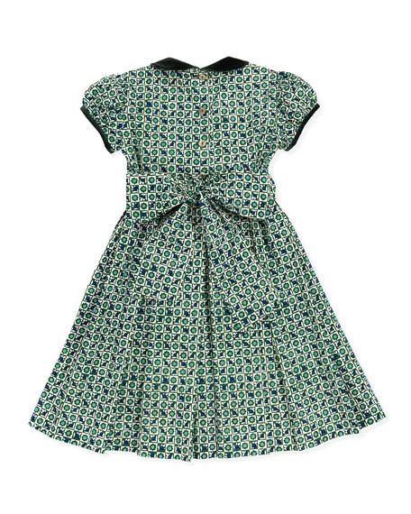 Velvet-Trim Floral-Print Dress, 18M-2T