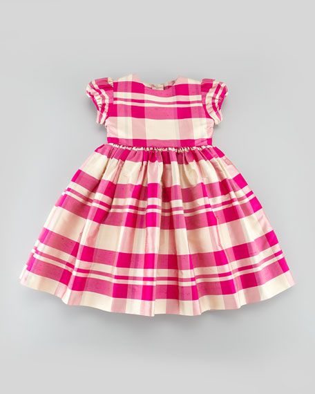Girls' Plaid Party Dress, Hot Pink, 18M-2T