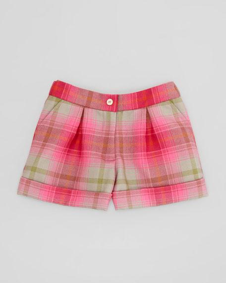 Girls' Tartan Plaid Shorts, Hot Pink, 4Y-10Y