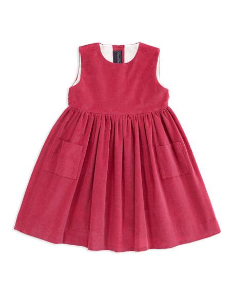 Girls' Corduroy Pinafore Dress, Hot Pink, 4Y-6Y