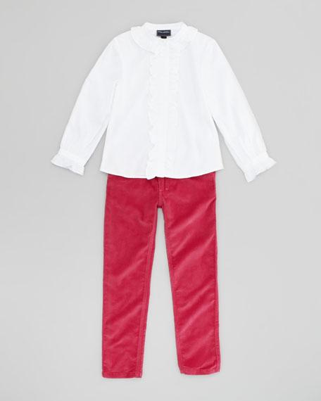 Girls Pierrot Collar Blouse, White, 4Y-10Y