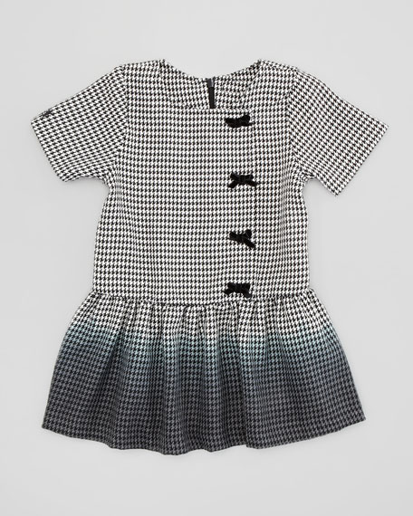 Ombre Houndstooth Dress, Black/White, Sizes 2-4