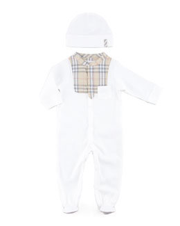 Burberry Bodysuit & Cap Set, White