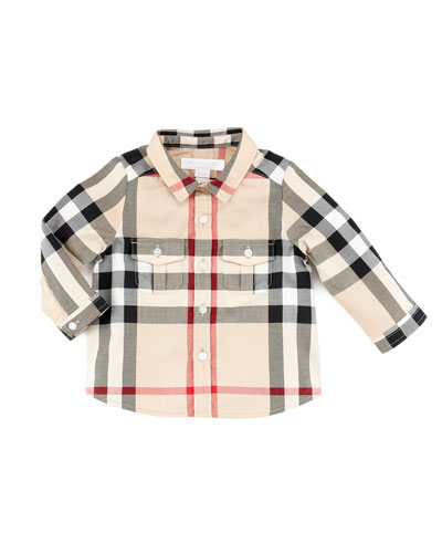 burberry outlet for kids 3eon  Infant Boys' Check Long-Sleeve Shirt, New Classic, 6-18 Months