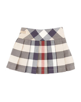 Burberry Side-Button Check Kilt, 6-18 Months