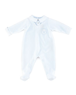 Tartine et Chocolat Boys' Bear-Embroidered Velour Pajamas, Light Blue, 3-24 months