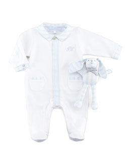 Tartine et Chocolat Pajamas & Bunny Newborn Gift Set, Light Blue