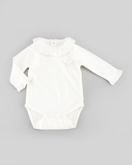 Ruffle-Trim Playsuit, Nacre, 3-24 Months