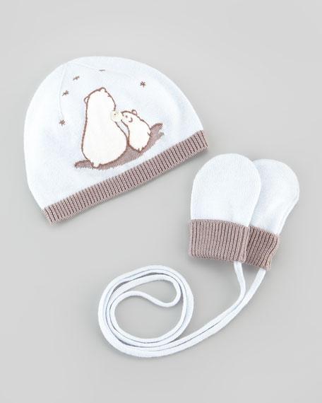 Newborn Polar Bear Hat & Mittens Set, Light Blue