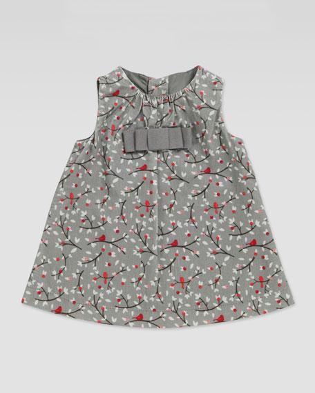 Pleated Bird-Print Dress, 3-24 Months