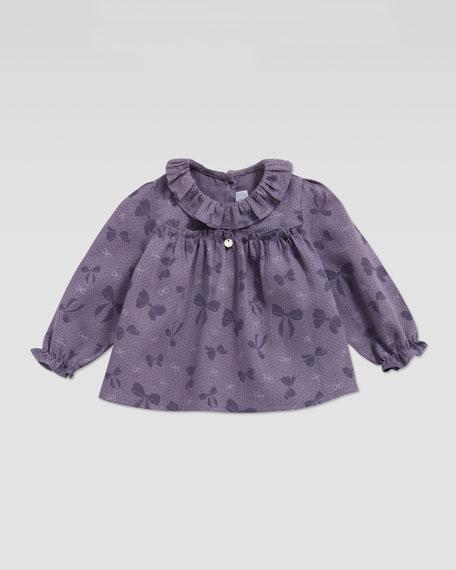 Bow-Print Blouse, Purple