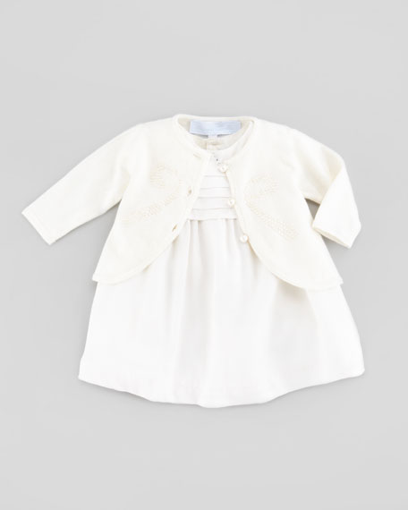 Bow-Detail Knit Cardigan, Ivory, 3-24 Months