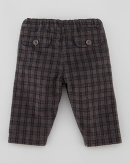 Tartine et Chocolat Plaid Trousers, Brown, 3-24 Months