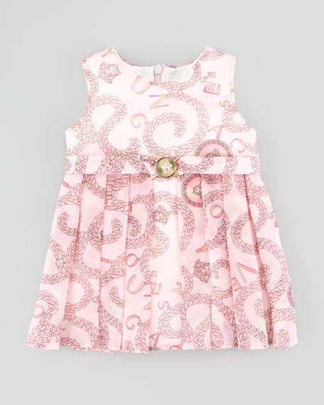 Pleated Chain-Print Dress, Pink, 3-9 Months