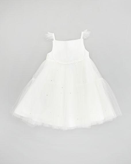 Girls' Flutter-Sleeve Tulle Dress, Cream, 2T-6