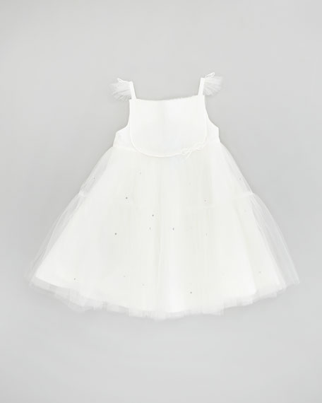 Girls' Flutter-Sleeve Tulle Dress, Cream, Sizes 8-10